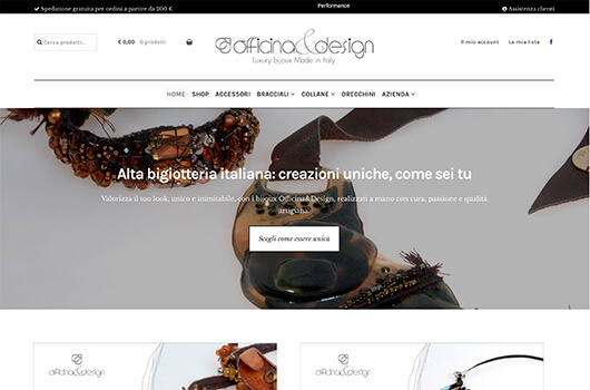 Caterweb ha sviluppato e-commerce e strategie di web marketing per Officina&Design, alta bigiotteria italiana